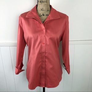 Chico's Coral Orange Button Down Shirt Top Large